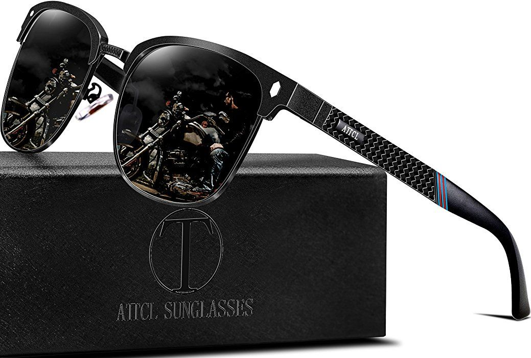 457c47978a Amazon.com  ATTCL Men s Driving Polarized Rimless Wayfarer Sunglasses Al-Mg  Metal Frame Ultra Light 8-188 Black  Clothing