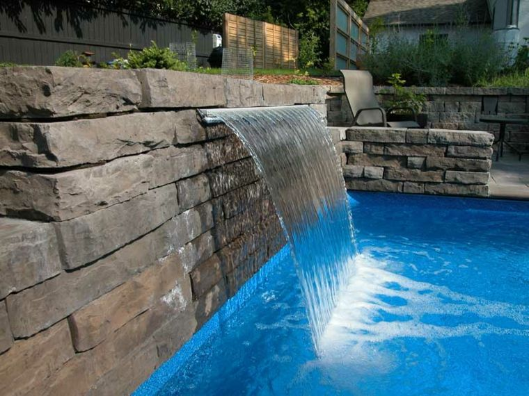 Pool Waterfalls Designs rock swimming pool design with waterfall feature Find This Pin And More On Ideas Para El Hogar Small Waterfall At Awesome Pool Design