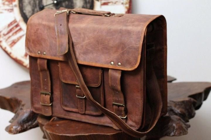 Large Leather Briefcase Messenger Bag Overlander Weekender Bag- Travel bag Duffle Bag 16x12x6.  $119.00, via Etsy.