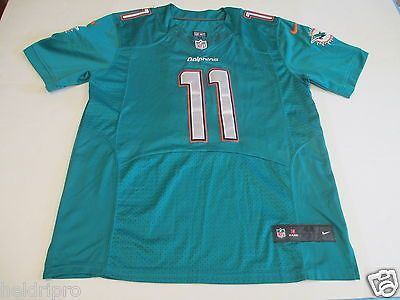 NFL MIAMI DOLPHINS  11 MIKE WALLACE NIKE ON FIELD MEN S SIZE 44 SEWN AQUA  JERSEY acacd0b68