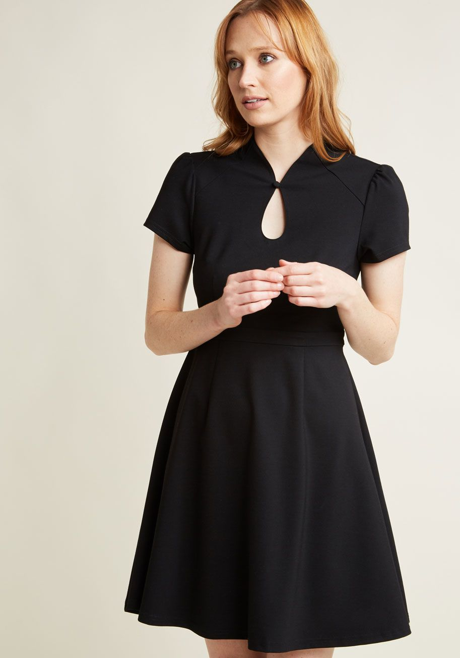 98d960b173aae <p>Proclaim your savvy for being a socialite by sporting this black dress.  Part of our ModCloth namesake label, this '50s-inspired frock is an  elevated pick ...
