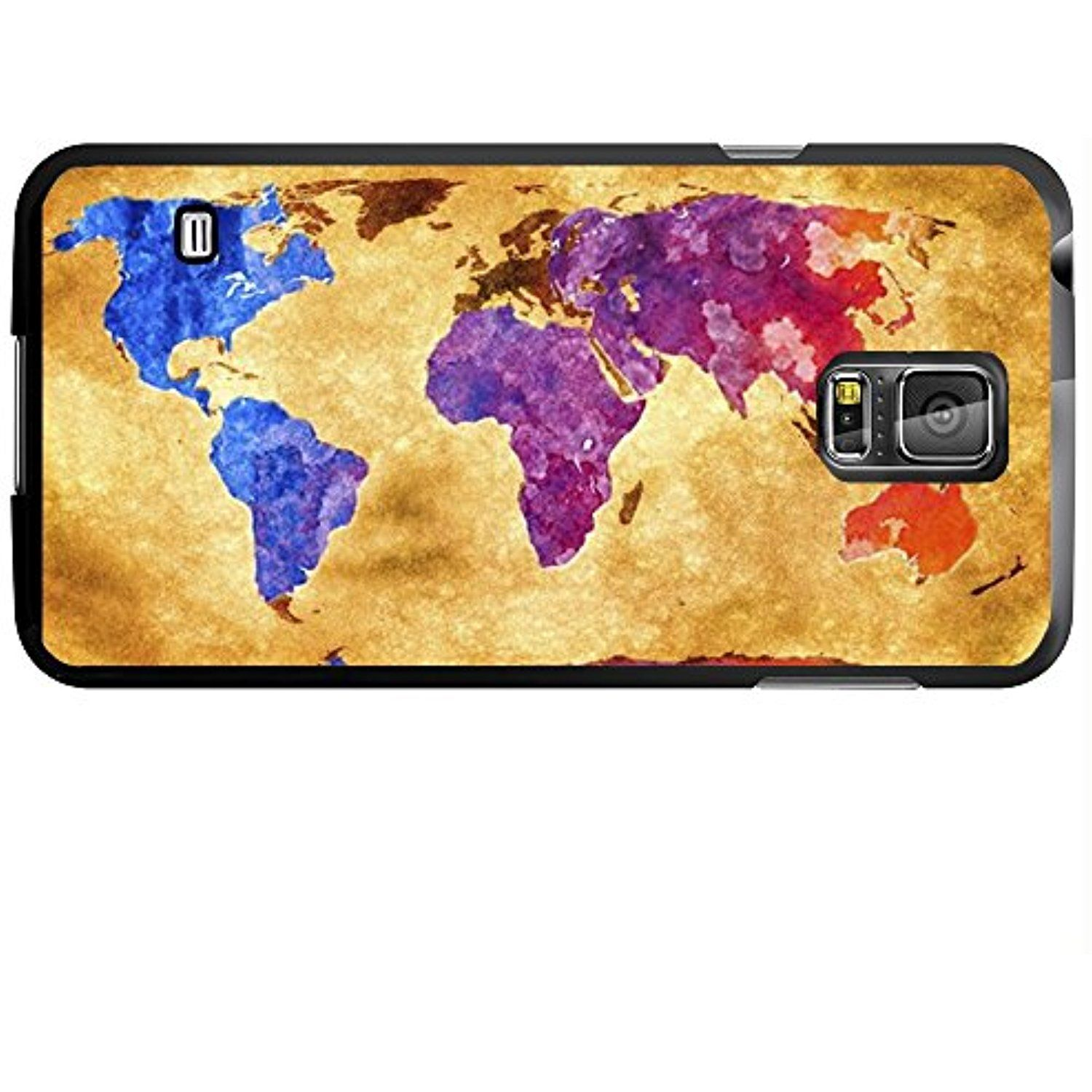 Antique World Map with Colorful Countries Hard Snap on Phone Case Galaxy s5 V