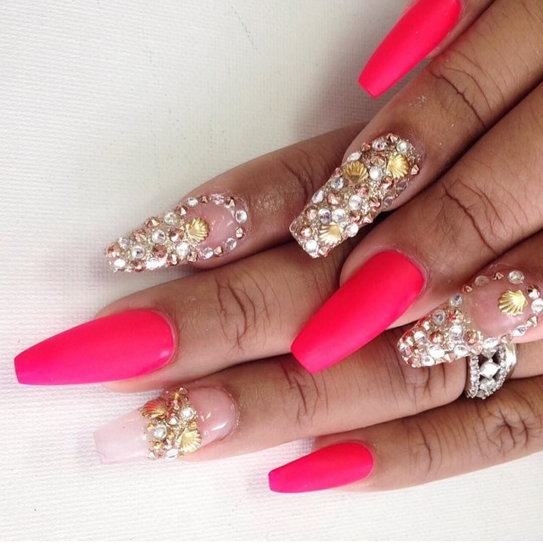 Matte hot pink coffin nails with jewelled silver gold and bronze ...