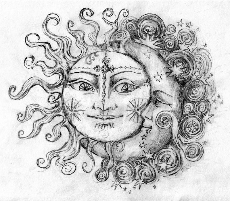 Sun And Moon By 6vladimira6 On Deviantart In 2020 Moon Coloring Pages Moon Sun Tattoo Moon Tattoo