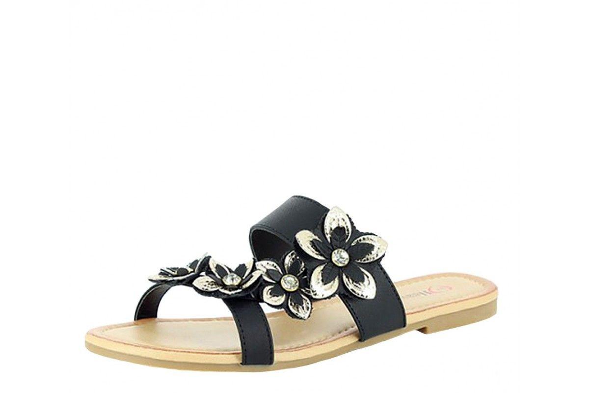 16fa925b321d Heavenly Feet Pammy Black Gold Flower Women s Flat Sandals
