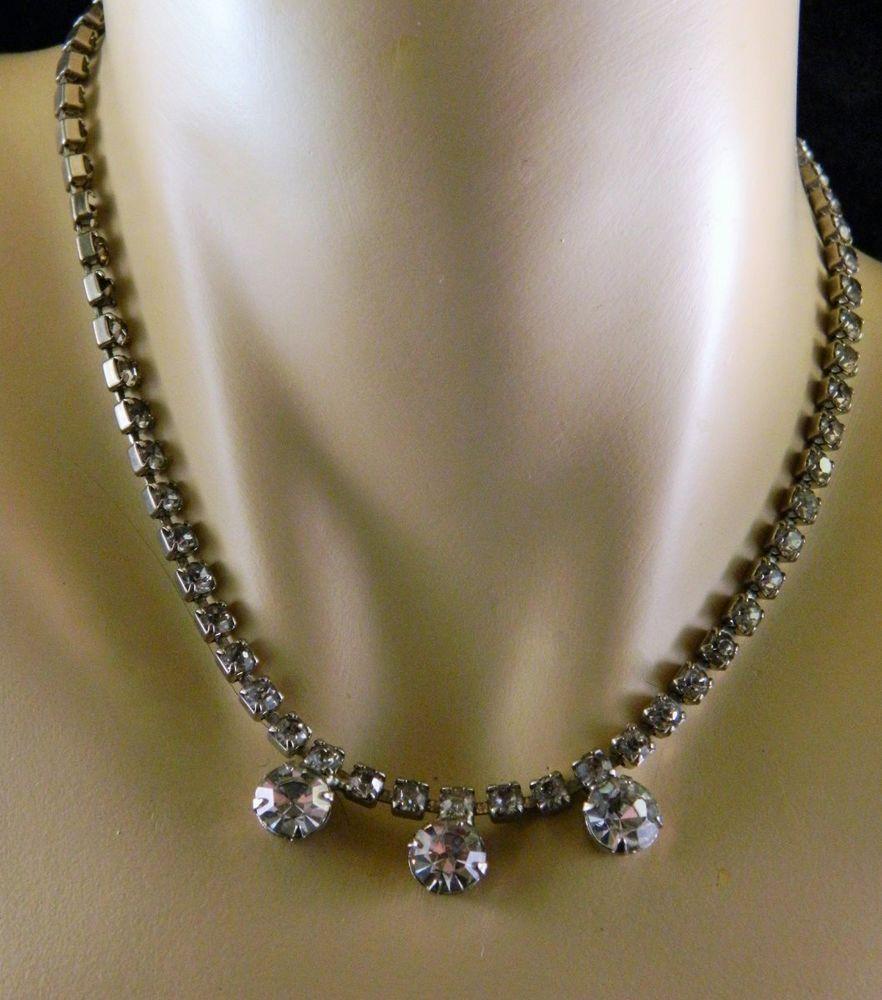 "Vintage Rhinestone Choker Necklace Silver Tone Adjustable 7.5"" - 2 missing #Choker"