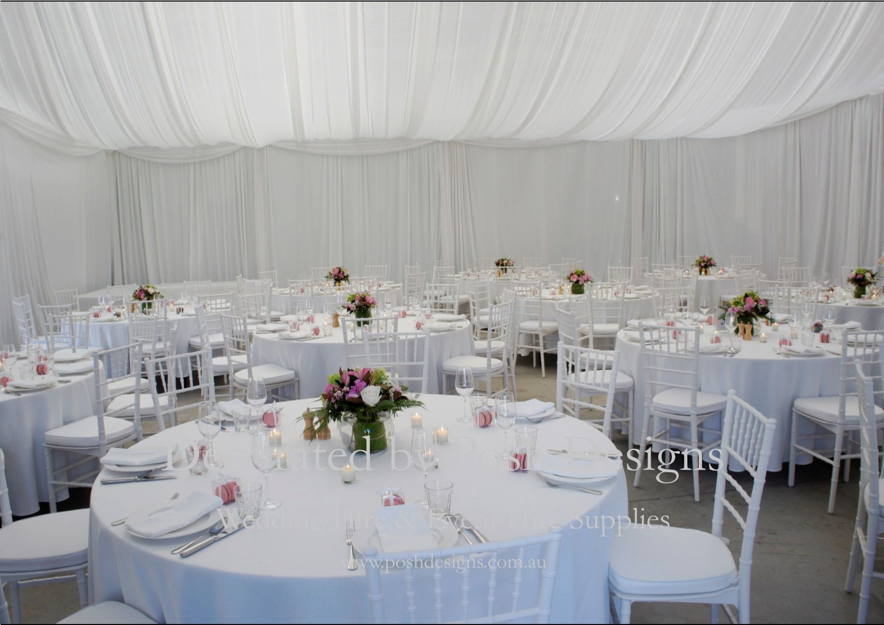 White tiffany chairs white table cloths flower white wall and white tiffany chairs white table cloths flower white wall and roof draping flower table centres all for hire for your wedding or event australia wide junglespirit Images