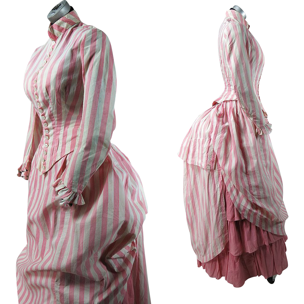 Wonderful Antique Victorian Seaside Bustle Dress In Three Pieces Pink And White Candy Stripes Bustle Dress Victorian Fashion Edwardian Dress [ 1002 x 1002 Pixel ]