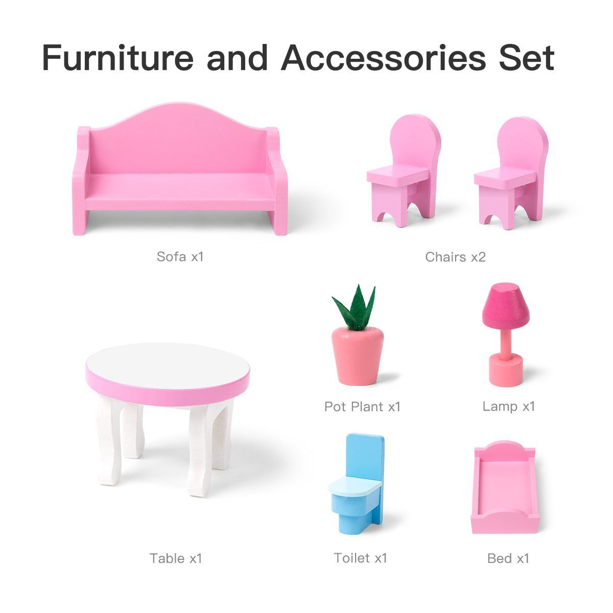 Wooden Dollhouse with Furniture, Doll House Playset for Kids