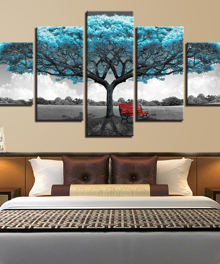 Prints Decor Paintings Framework Living Room Abstract 5 Pieces Blue Big Tree Red Chair Pictures Landscape Wall Art Canvas Poster Wall Art Living Room Metal Tree Wall Art Canvas Art Wall Decor
