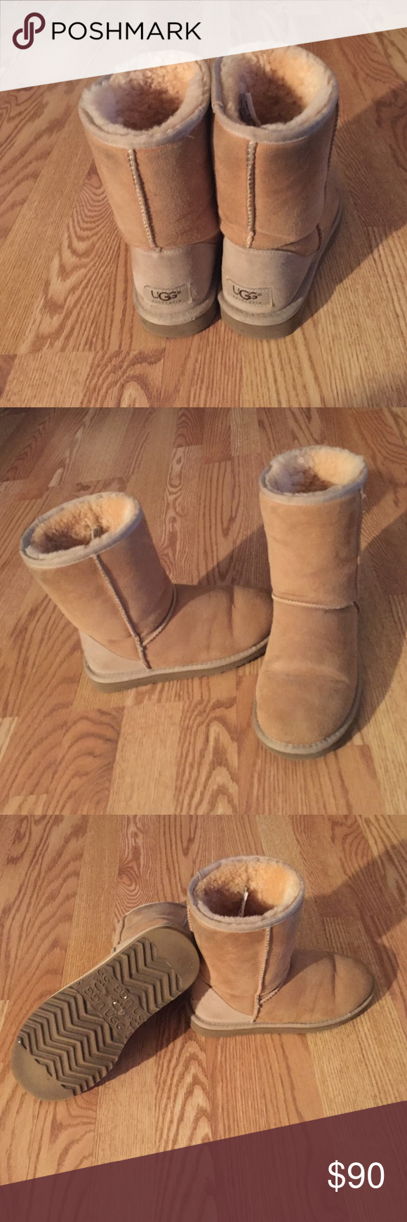 •authentic UGGS• AUTENTIC •short • tan colored UGGS! all offers considered! will include water & stain repellent for sheepskin & suede! UGG Shoes Winter & Rain Boots