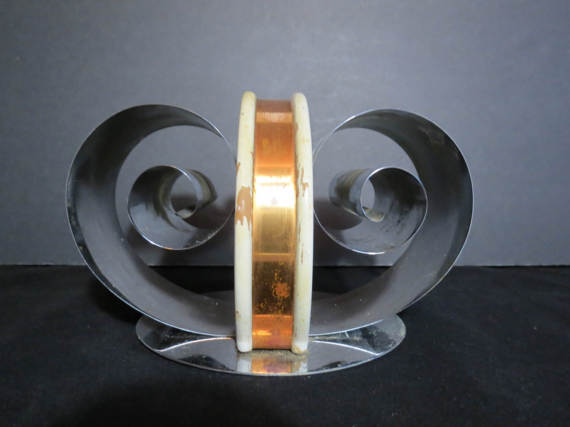 Spring Tite Art Deco Chrome Copper and Wood Bookends or