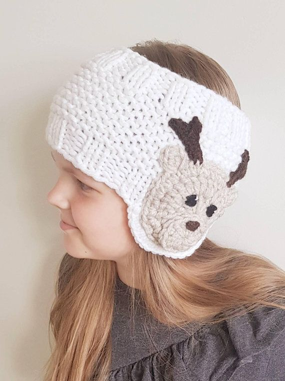 Knit Earwarmer, Christmas Outfit, Reindeer Hat, Knit Headband, Messy ...