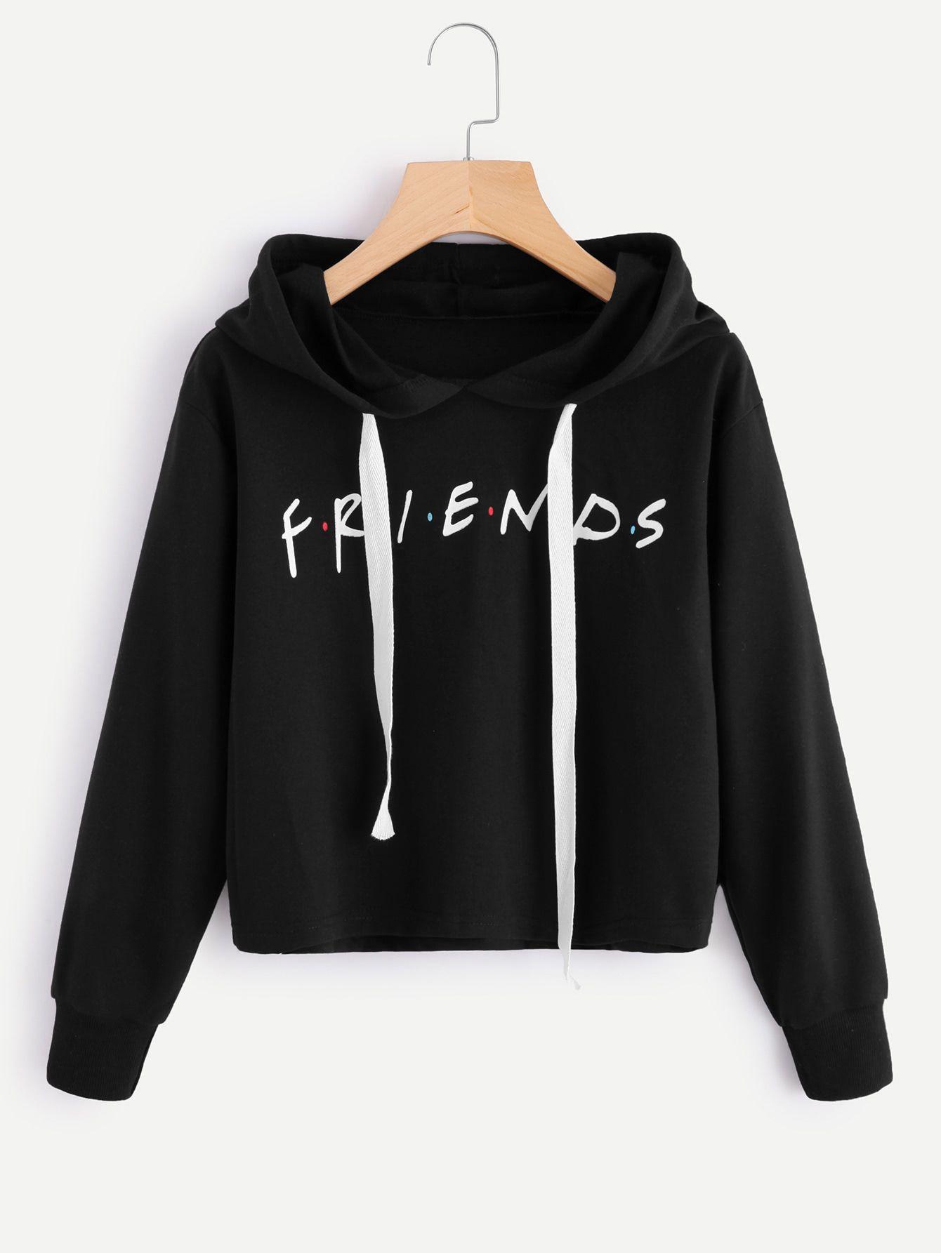 46f86a0fa44 Shop Friends Print Drop Shoulder Raw Hem Hoodie online. SheIn offers Friends  Print Drop Shoulder Raw Hem Hoodie & more to fit your fashionable needs.