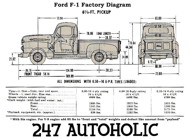 F1 Blueprint Ford Pickup Trucks 1948 Ford Truck Blueprints