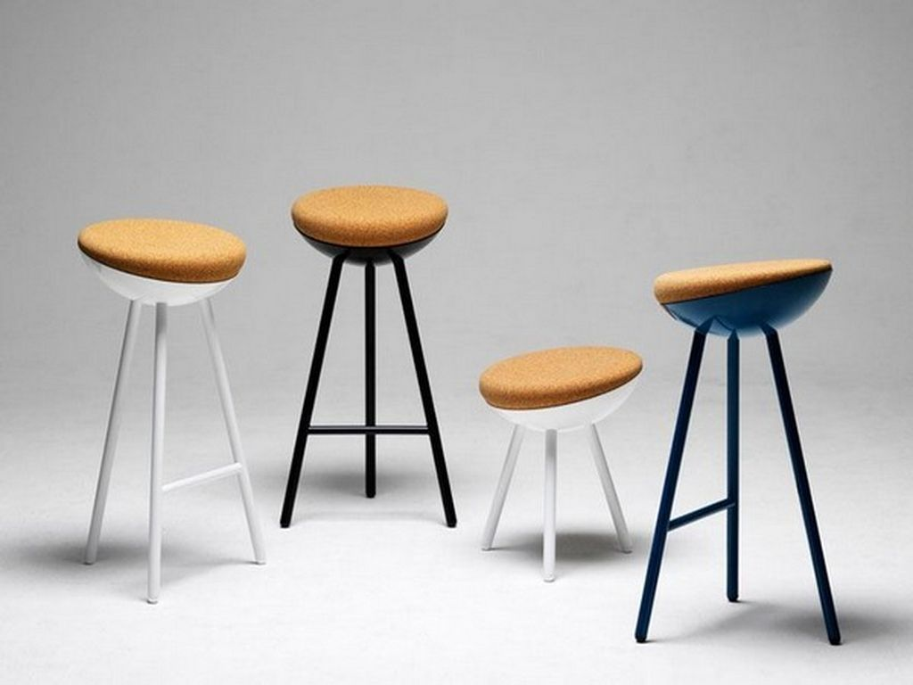 Note Design Studio Boet Stool The Seating Object Is Composed Of A Metal Structure With Cork Seat