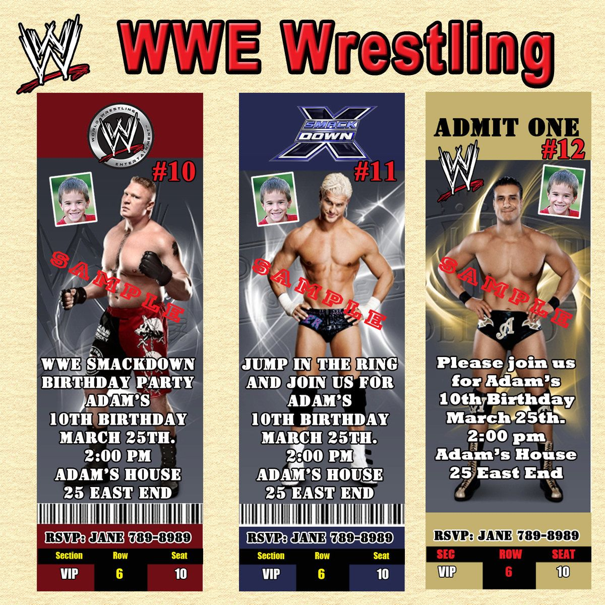 Good WWE Wrestling Birthday Invitations 10 Ea With By SRPrintingService, $11.00