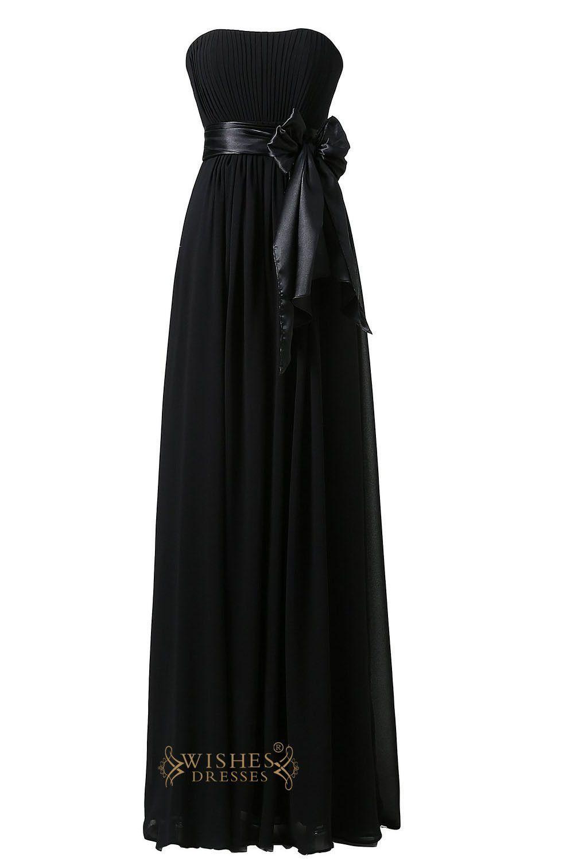 Red and black wedding dress  Strapless Black Chiffon Long Bridesmaid dresswedding party dress