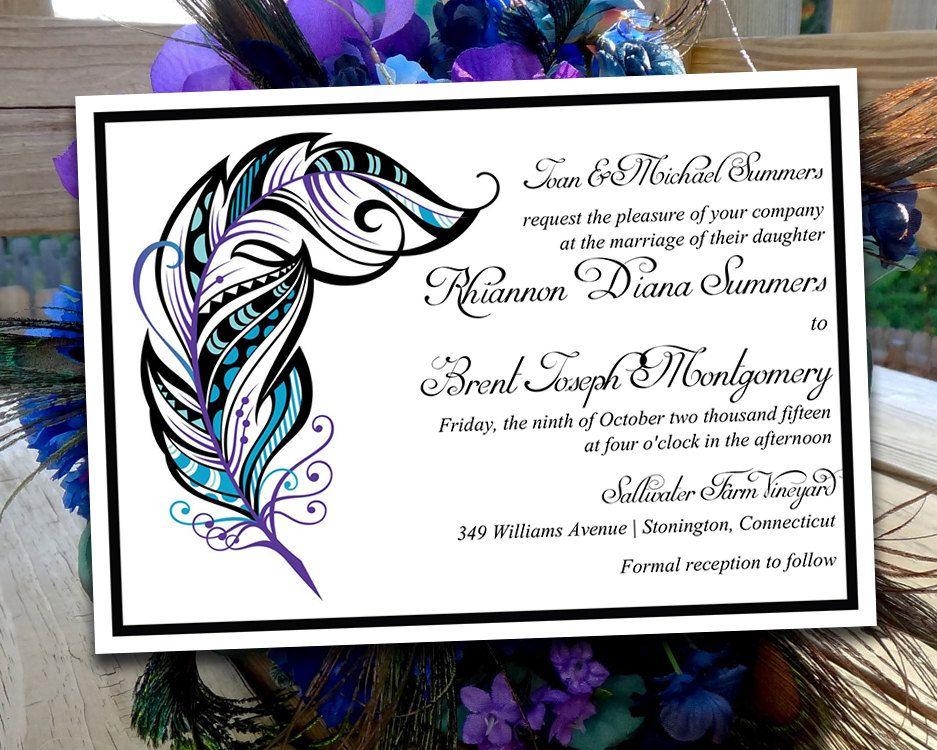 Peacock Wedding Invitations Template: Printable Wedding Invitation Template
