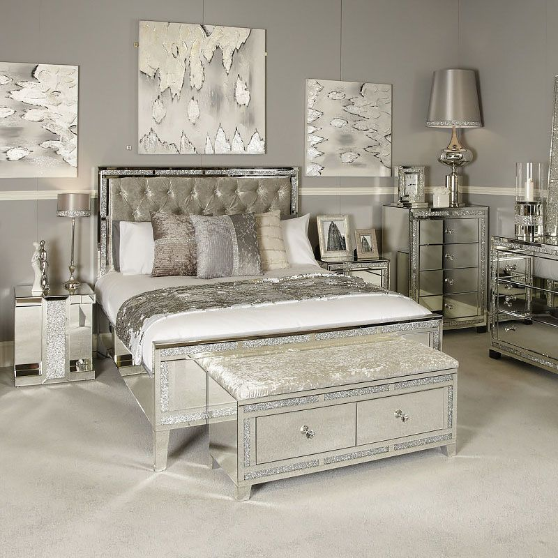 Diamond Glitz 2 Drawer Crushed Velvet Mirrored Bench Picture Perfect Home Mirrored Bedroom Furniture Bedroom Furniture Sets Bedroom Sets
