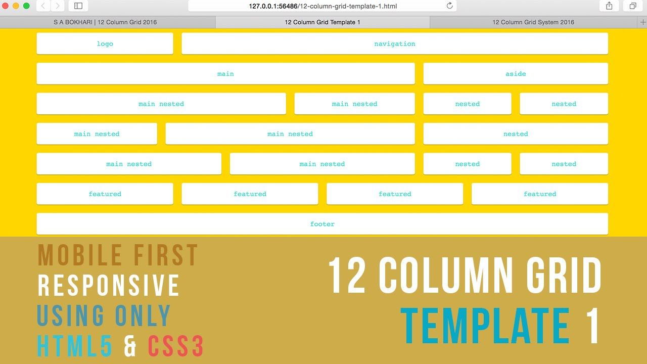 Mobile First Responsive 12 Column Grid Template 1 Using Only Html5 And Css3 Grid Templates Column