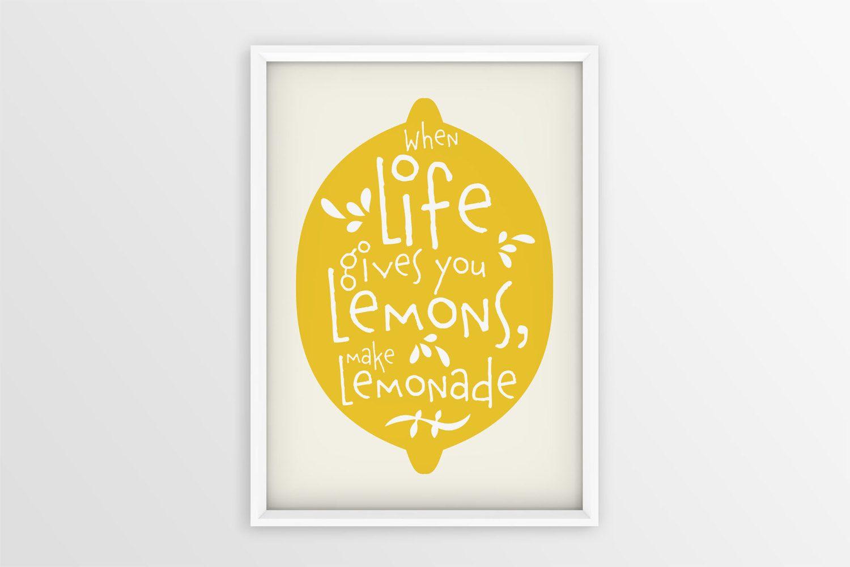 Lemonade wall art | If life gives you lemons make lemonade | Lemon ...