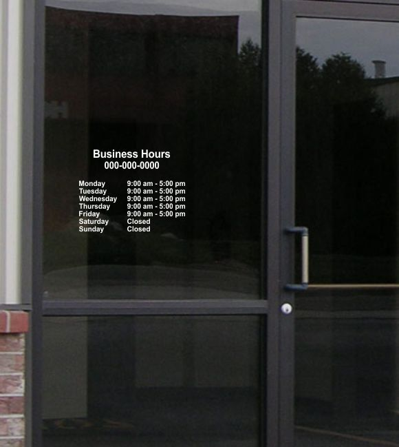 Window Decals Vinyl Window Decals Window Stickers Store Hours - Window stickers for business hours