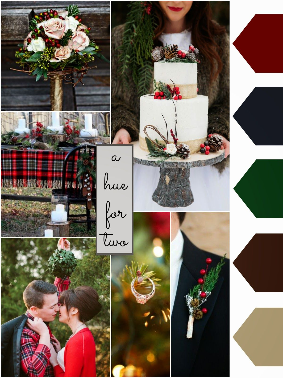 Red, Blue, Green, Brown Rustic Christmas Wedding
