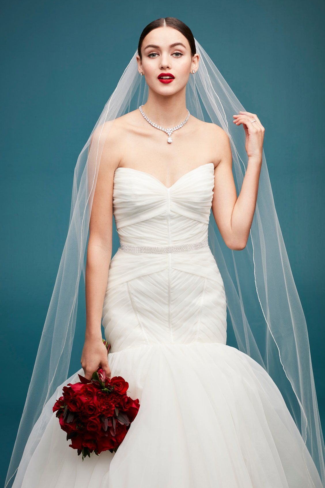 Strapless Pleated Organza Mermaid Wedding Dress by Truly Zac Posen ...