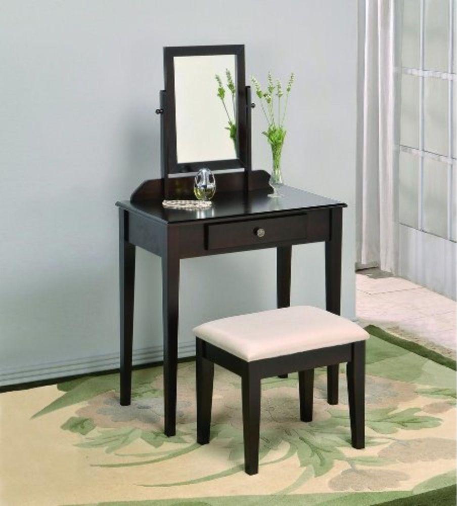 espresso vanity set with bench. Vanity Set Stool Mirror Bench Drawer Dressing Makeup Table Child Espresso  Beige