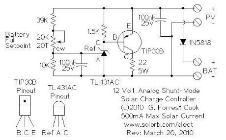 analog shunt mode 12v 500ma solar charge controller circuits rh pinterest com 12 volt 20 amp solar charge controller circuit diagram Diagram Solar Panels On Houses