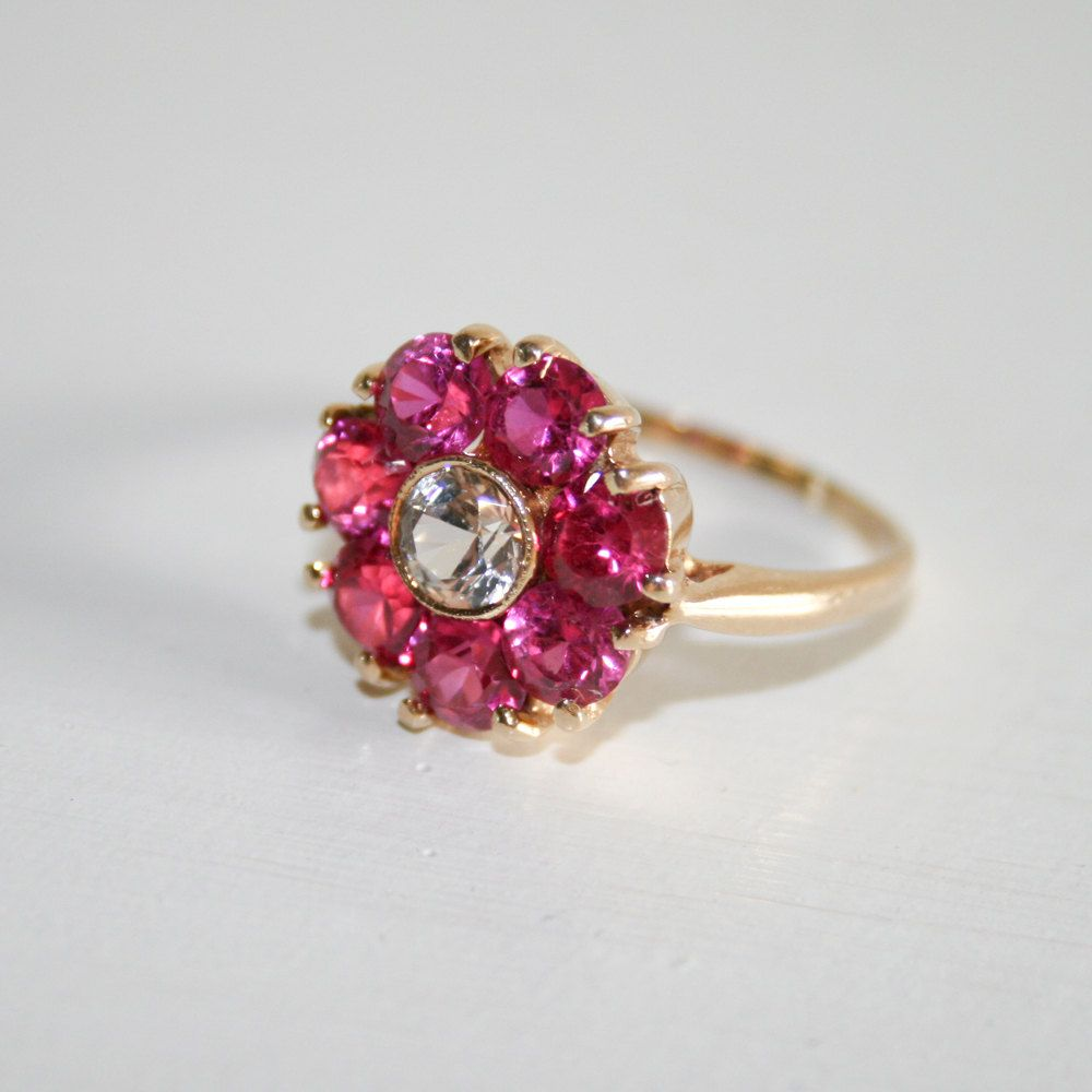 gold flower ring with stones