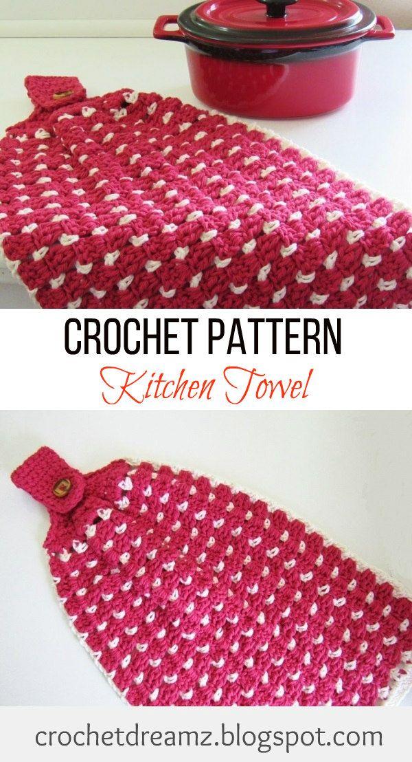 Block Stitch Kitchen or Tea Towel, Free Crochet Pattern | Häckeln