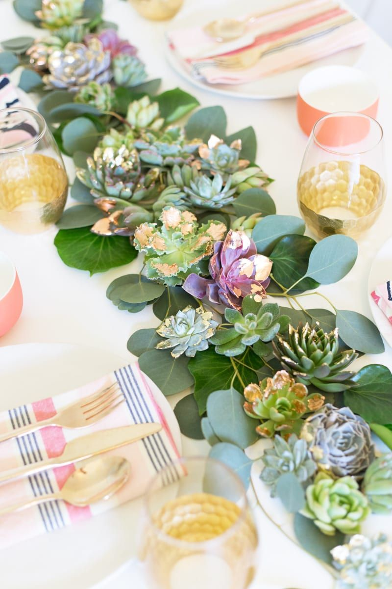 Diy gold copper leaf succulent table runner with images