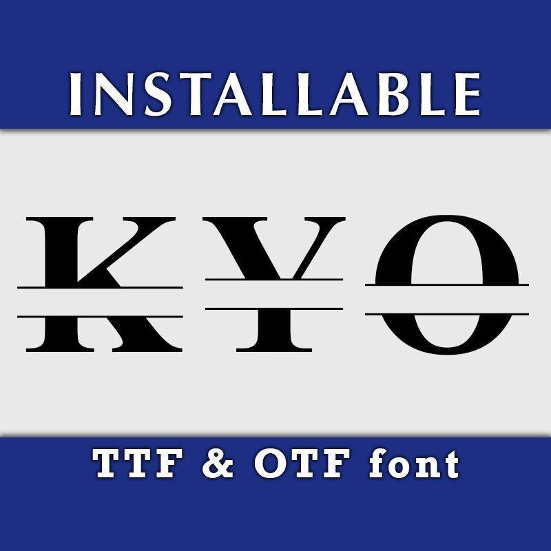 Roman Split Monogram Ture Type Font In Ttf And Otf Format In 2020 Ttf Silhouette Fonts Font Types