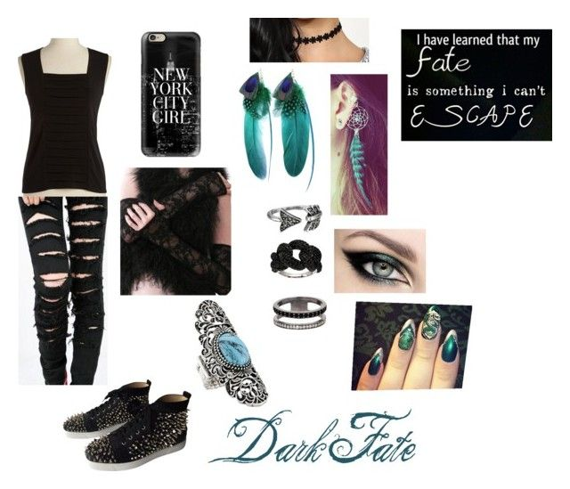 """""""Dark Fate"""" by nawshin55555 ❤ liked on Polyvore featuring Calvin Klein, Christian Louboutin, Casetify, Urstadt.Swan, House of Harlow 1960, Sam Edelman, ADORNIA, QVC, women's clothing and women's fashion"""