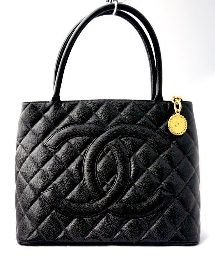 e7fda12e850a7f Authentic Chanel Handbags | Authentic CHANEL Black Caviar Leather Medallion  Tote Handbag Purse Bag