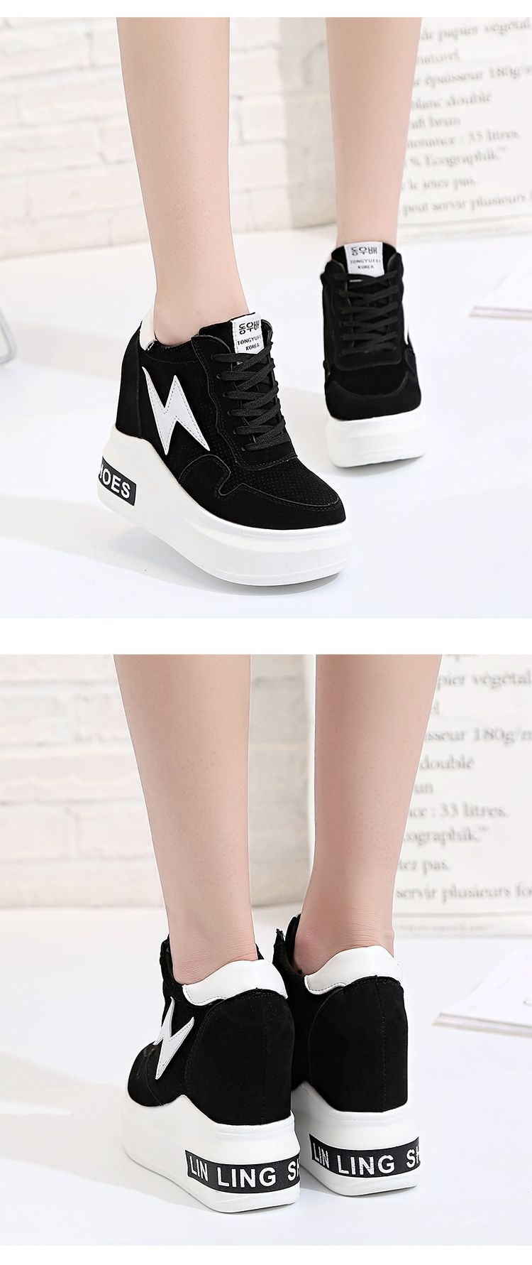 3f5bde801c 23  - 2017 new lady high heels fashion canvas casual wedge shoes woman  height increase platform shoes -in Women s Vulcanize Shoes from Shoes on ...