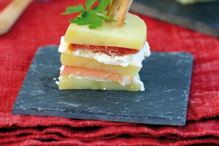 Millefeuille de Princesse Amandine® au jambon serrano et tomme de brebis