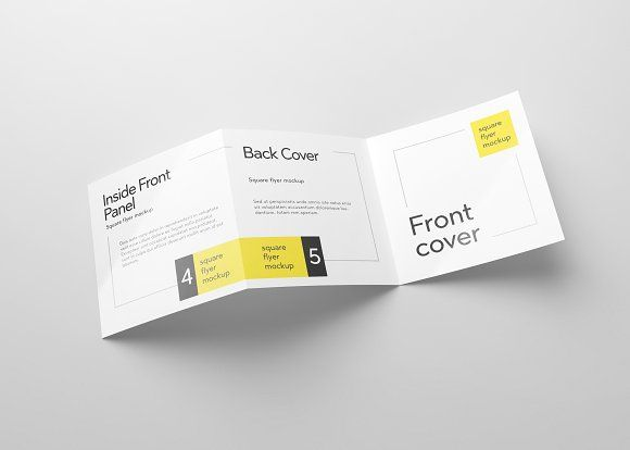 Trifold Square Flyer Mockup by Design by Mike Kondrat @layer3mockups ...