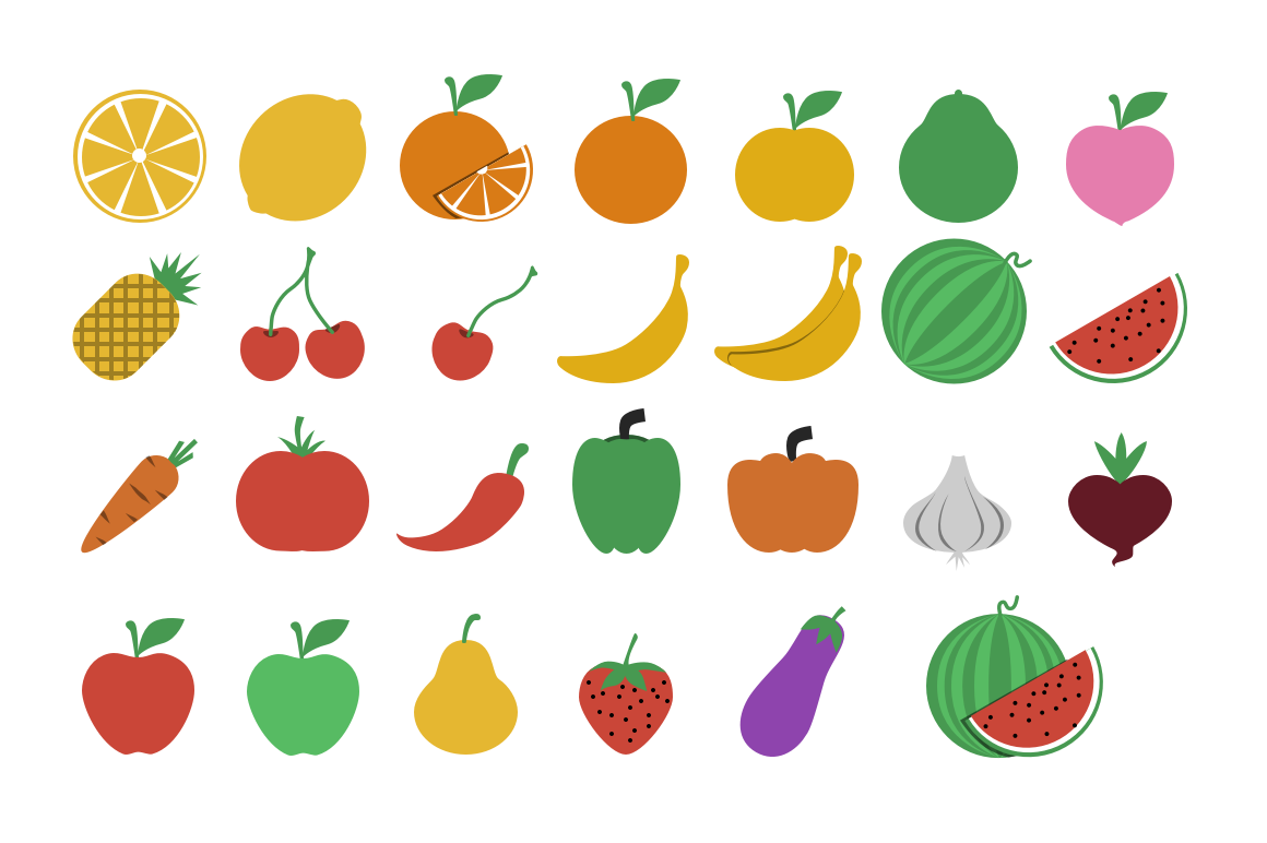 Fruits and Vegetables by linhpham.me on @creativemarket