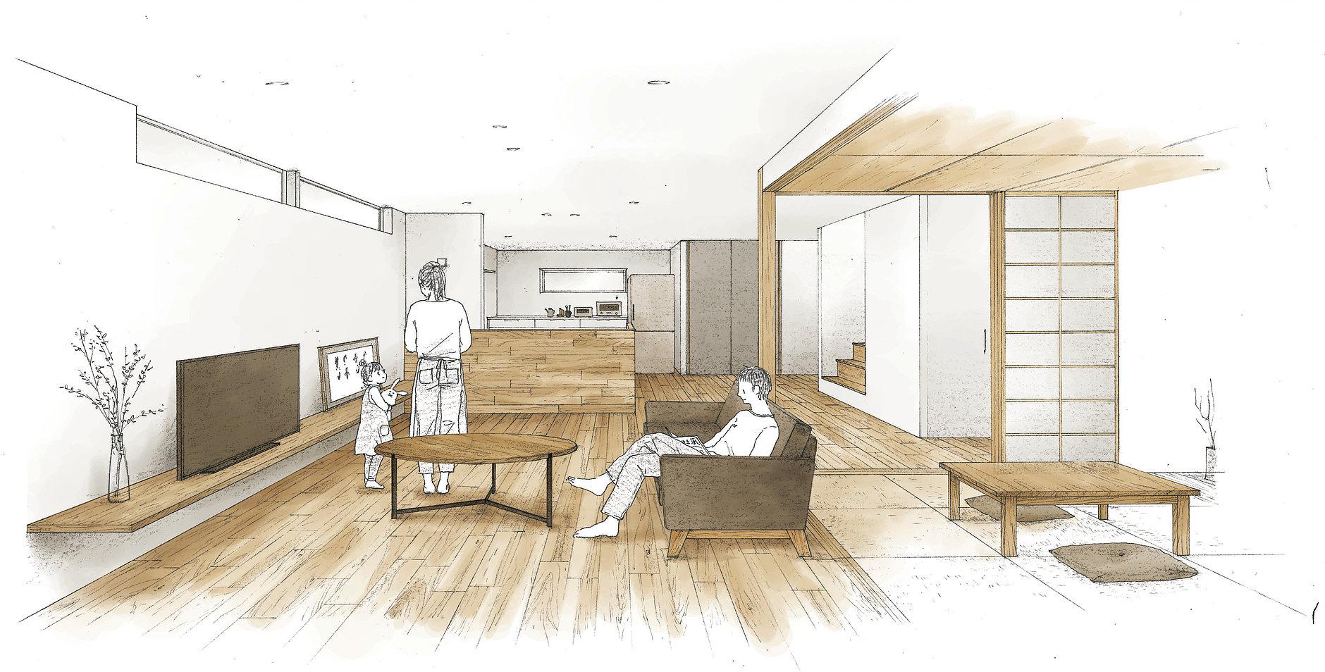 建築 パース イラスト 手描き 玄関を入ると 大工さんが1枚1枚