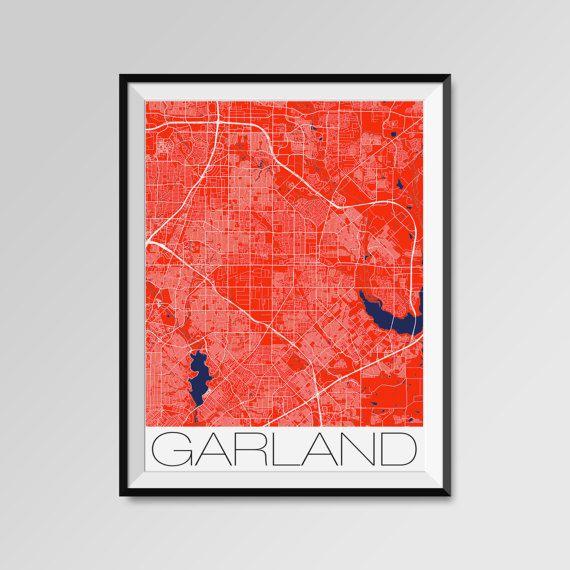 Garland City Maps Print, Dallas City Poster, Minimalist