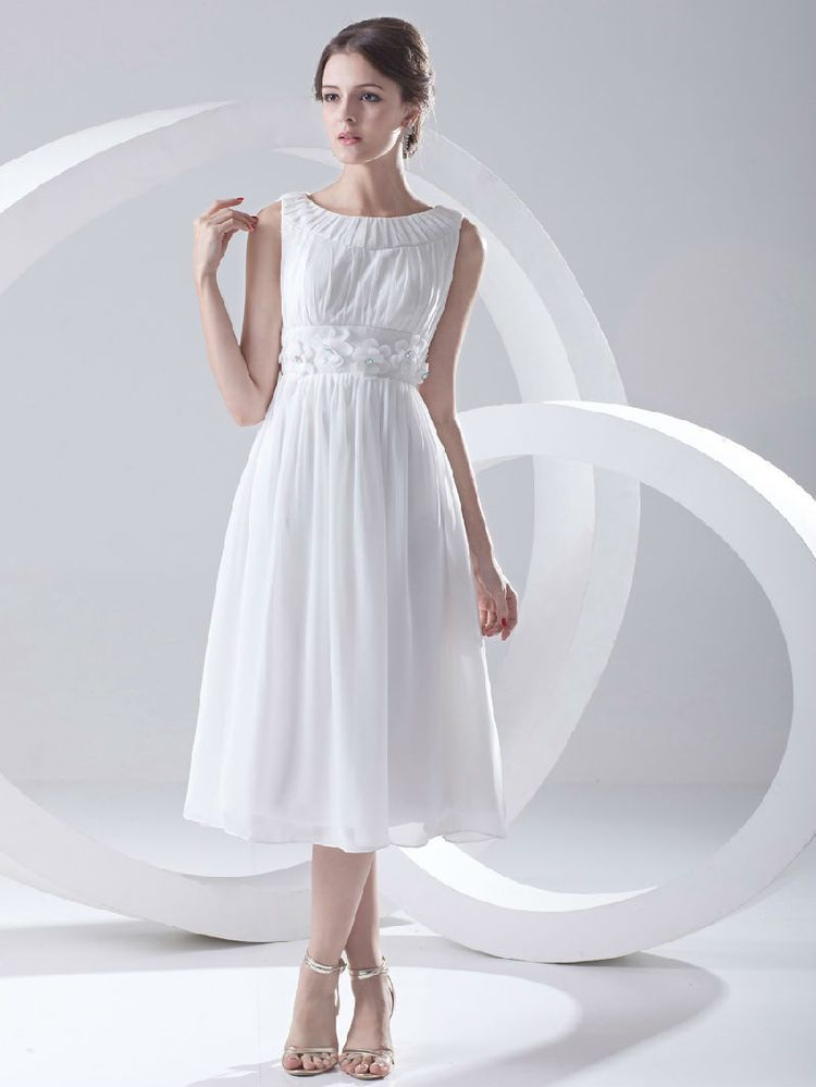 Cheap Price Short Chiffon Wedding Dress Bridal Gown Tea Length All