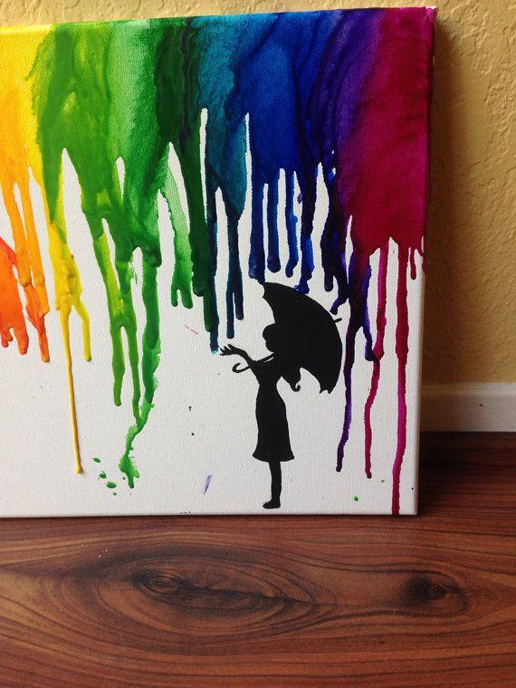Rainbow Rain Umbrella Melted Crayon Art Artherapie