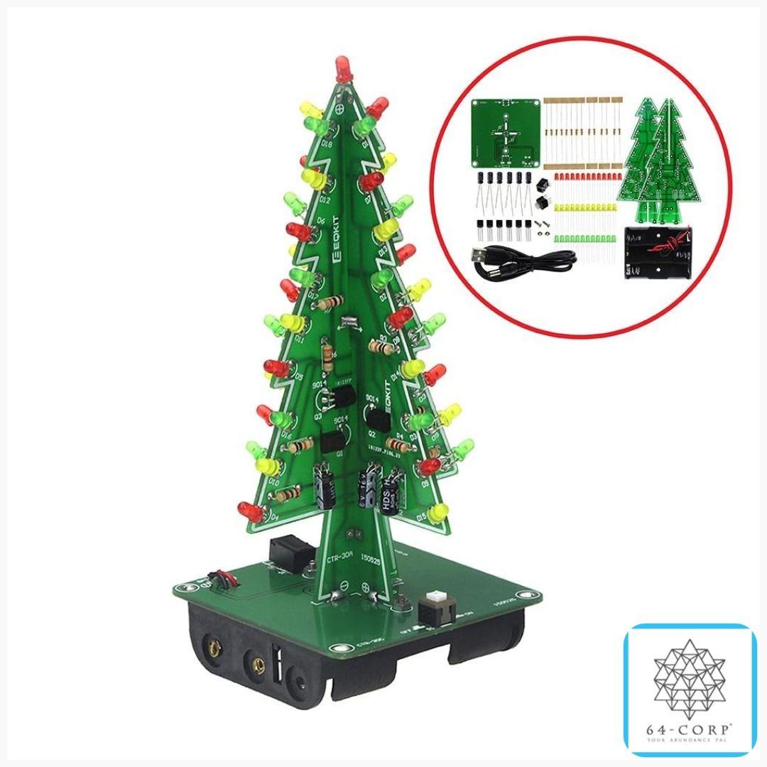 Three Dimensional 3d Christmas Tree Led Diy Kit Red Green Yellow Led Flash Circuit Kit Electronic Fun Suite Hippiestyle Diy Christmas Tree Led Diy Diy Kits