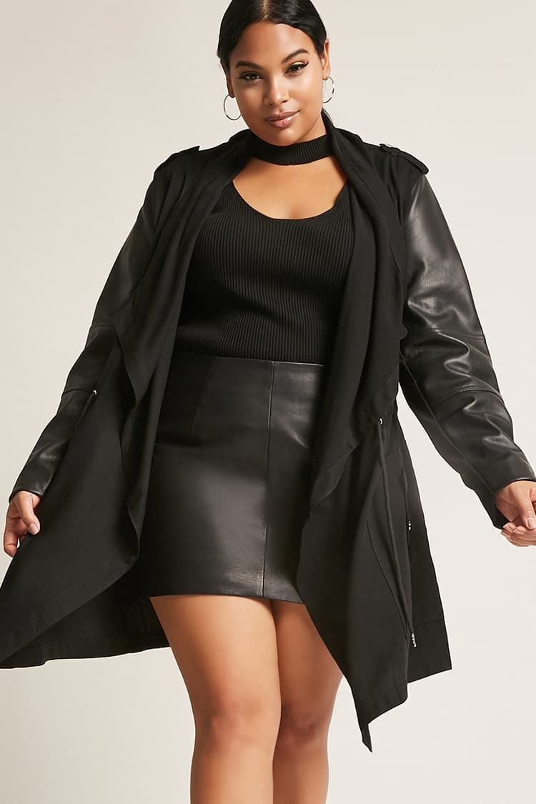 75e73767a9e582 Product Name:Plus Size Dex Faux Leather-Trim Jacket,  Category:CLEARANCE_ZERO, Price:98