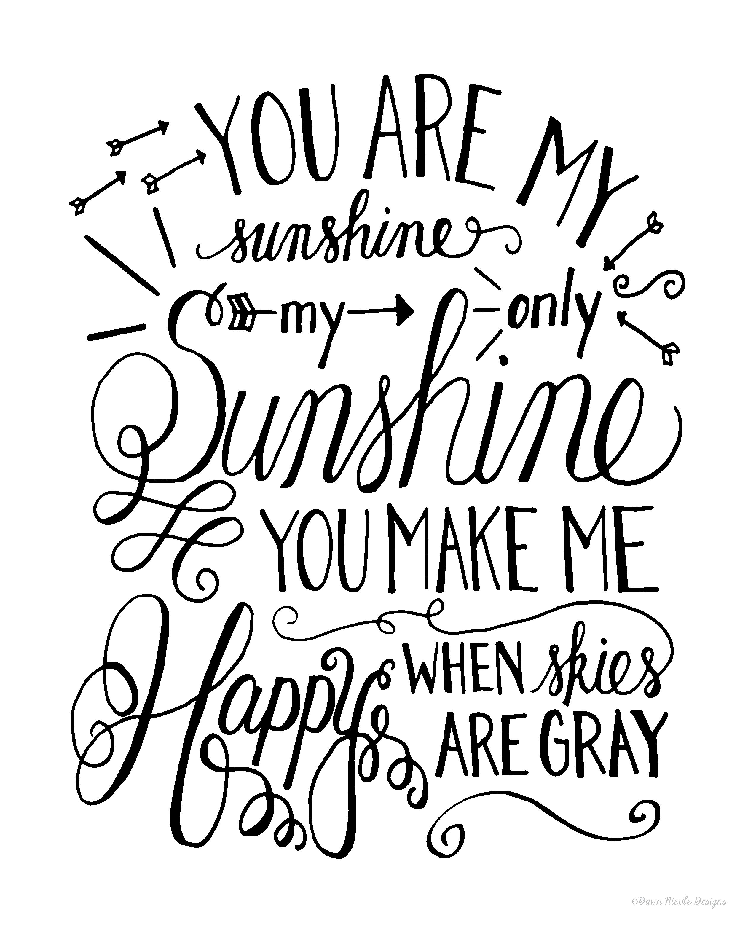 Hand Lettered You Are My Sunshine Print