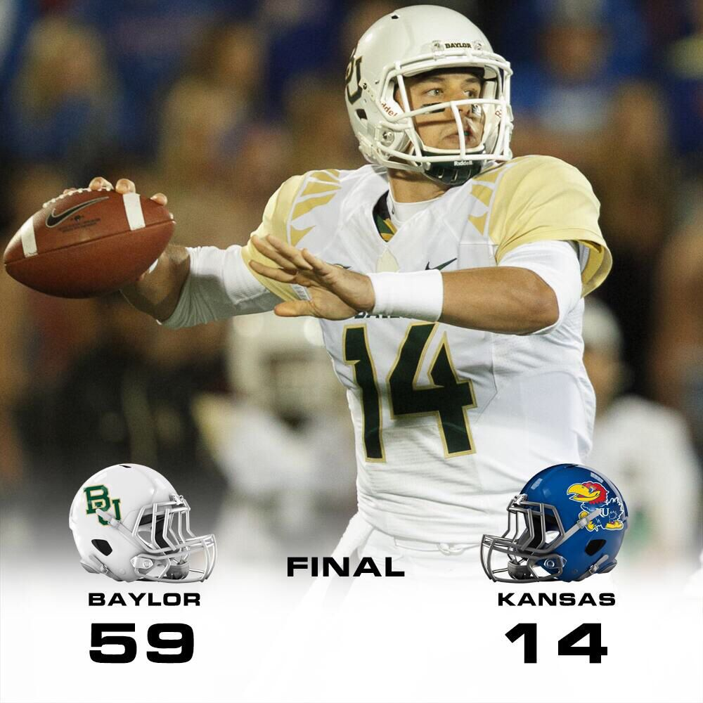 Baylor 59, Kansas 14 Football helmets, Baylor, Champs