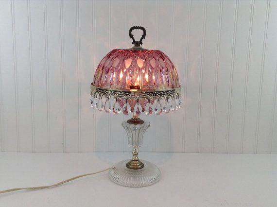 Pinkrose glass boudoir dresser tear drop prism table lamp pinkrose glass boudoir dresser tear drop prism table lamp mozeypictures Image collections